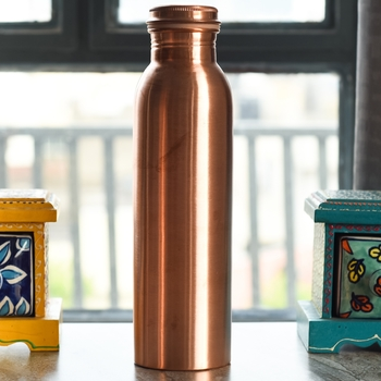 Thermos Design Copper Bottle for Healing and Travelling Purpose, 1000 ML