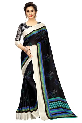 Dark blue printed linen saree with blouse