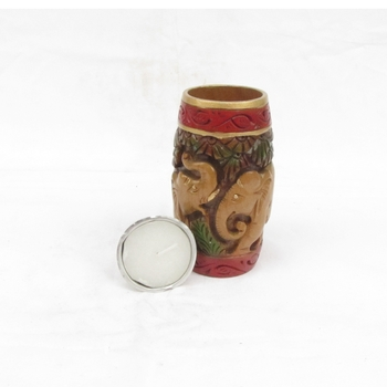Elephant Etched Multipurpose Hand Painted Candle Stand