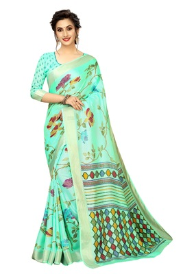light green printed linen saree with blouse
