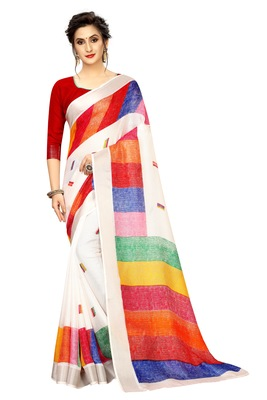 White printed linen saree with blouse
