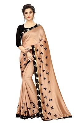 Golden printed linen saree with blouse