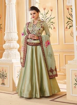 Light-green embroidered silk salwar