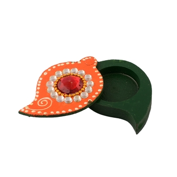 Multiutility Decorative Orange and Green Wooden Chopra