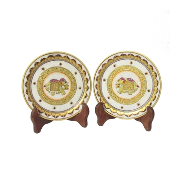 Golden Elephant Etched Decorative Plates (Set of 2)