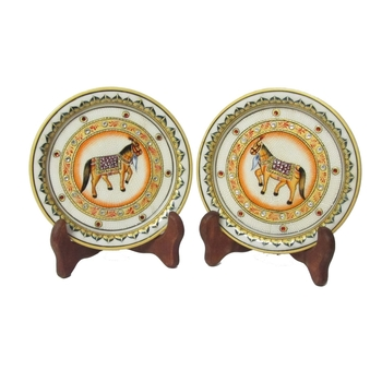 Horse Etched Decorative Plates (Set of 2)