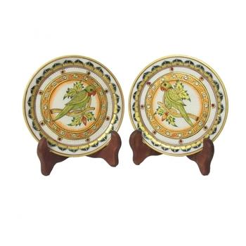 Parrot Etched Decorative Plates (Set of 2)