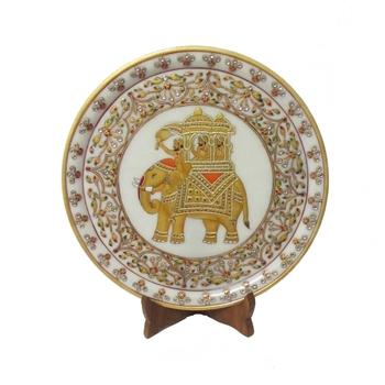Ambabari Elephant Etched Marble Plate