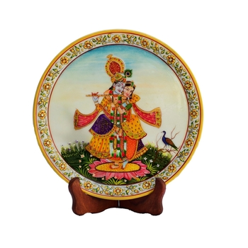Divine Beauty of Radha-Krishna on Marble Plate with Wooden Stand