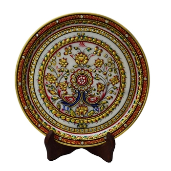 Vibrant Floral Decorative Marble Plate with Wooden Stand
