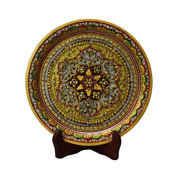 Golden Floral Decorative Marble Plate with Wooden Stand