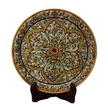 Marble Decorative Plate with Flower Petal Design on Wooden Stand