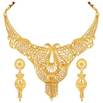Asmitta traditional 1 Gram gold plated choker Necklace set for women