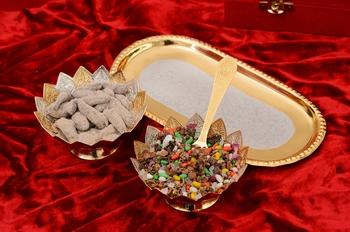 German Silver Multiutility Floral Shape Decorative Platter with Velvet Box