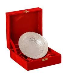 German Silver Multiutility Round Decorative Platter with Velvet Box
