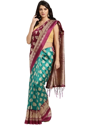 brown printed art silk saree with blouse