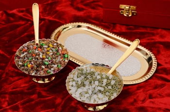 German Silver Multiutility Decorative Platter 2 Golden Bowl Set with Velvet Box