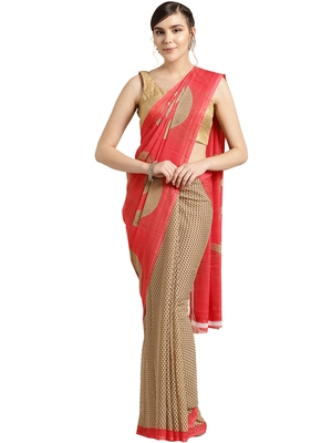 Beige printed faux georgette saree with blouse