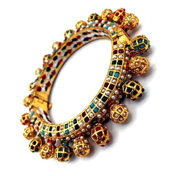Multicolor meenakari Gold Plated Brass Hand Made Jadau Kundan Meena Traditional Bangle for Women and Girls