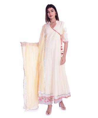 beige plain cotton kurta sets