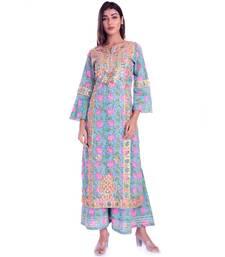 turquoise printed cotton kurta sets