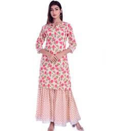 beige printed cotton kurta sets