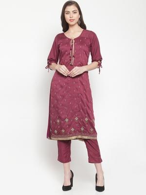 Purple embroidered silk ethnic-kurtis