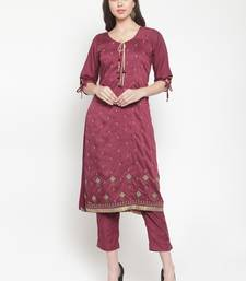 Purple embroidered silk ethnic-kurtis