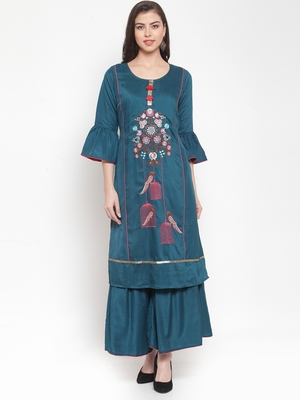 Teal embroidered silk ethnic-kurtis