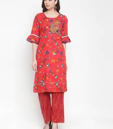 Red embroidered rayon ethnic-kurtis