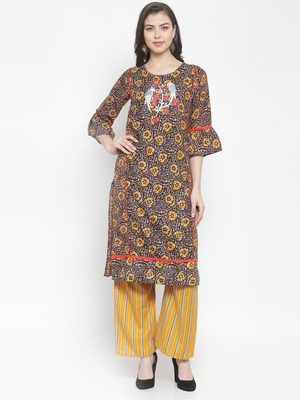 Black embroidered rayon ethnic-kurtis