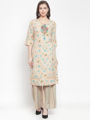 Beige embroidered rayon ethnic-kurtis