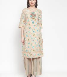 Beige embroidered rayon ethnic-kurtis