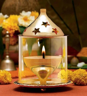 Brass and Glass Akhand Diya
