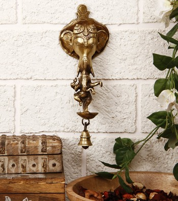 Brass Ganesha wall hanging Deep with bell and Dancing Ganesha