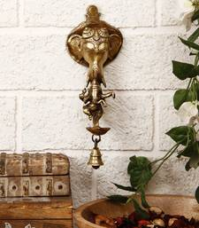 Brass Ganesha wall hanging Deep with bell and Dancing Ganesha