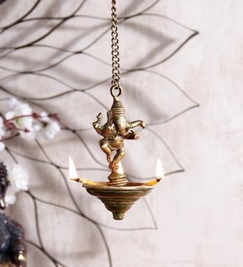 Brass Dancing Ganesha Hanging 3 Oil Wick Diya