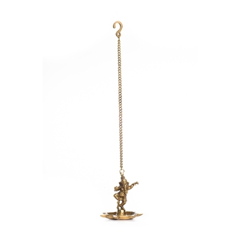 Brass Dancing Ganesha Hanging 7 Oil Wick Diya