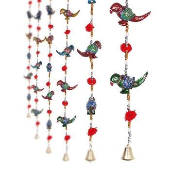 Parrot Mirror work Door Hanging Metal Tapestry Artificial Beads - Set of 2
