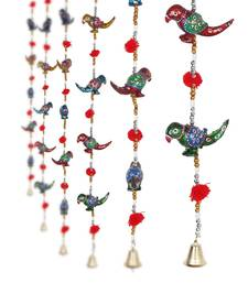 Parrot Mirror work Door Hanging Metal Tapestry Artificial Beads - Set of 2