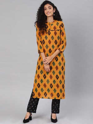 Orange printed cotton party-wear-kurtis