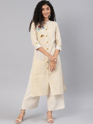 Blissta Beige Cotton Flex Straight Kurti