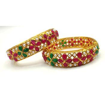 Multicolor Stone Bangles Set Of 2