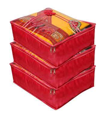 Atorakushon® Satin Saree Cover Clothes Storage Bag Wardrobe Garments Organiser kit
