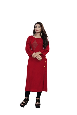 Multicolor plain rayon ethnic-kurtis