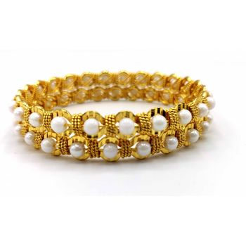 White Pearl Gold Plated Bangles Set Of 2