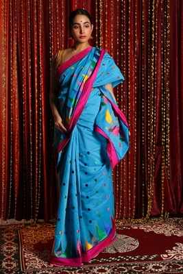 SKY BLUE BLENDED SILK SAREE WITH MULTICOLOR EMBRROIDERY WORK