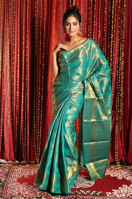 TEAL BLUE BROCADE BANARAS HANDLOOM SAREE