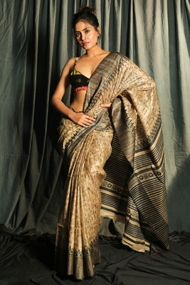 BEIGE AND BLACK PURE GHEECHA SAREE WITH PRINTED DESIGNS