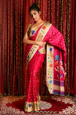 PINK SOFT SILK WITH EMBROIDERED BUTA WITH PRINTED BORDER AND PALLU